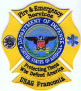Abzeichen Fire and EMS Services USAG Frankonia
