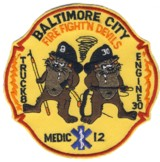 Abzeichen Fire Department Baltimore City / Truck 8 / Engine 30 / Medic 12