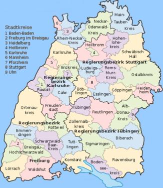 Karte württemberg in städte baden Liste der